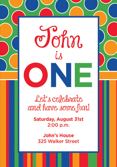 Primary One Polka Dot and Stripes Birthday Party Invitation