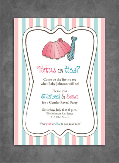 Tutus or Ties Gender Reveal Party Invitation  with Pink and Blue Stripes