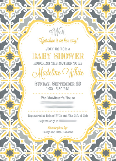 Elegant Pink and Yellow Baby Shower Invitation