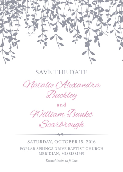 Simple Vines Save the Date Card