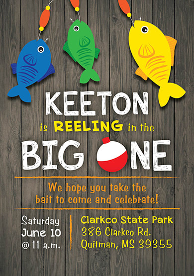 Reeling in the Big One Birthday Party Invitation