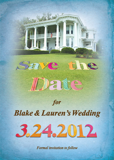 Blue Antique Save the Date Card