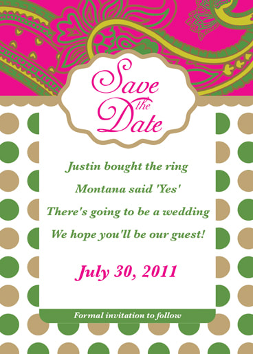Pink and Green Paisley Save the Date Card