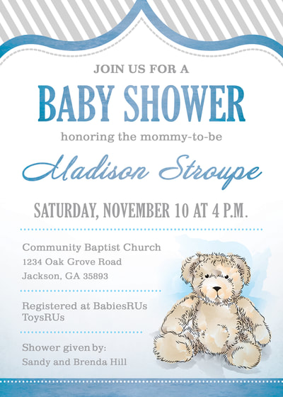 Watercolor Teddy Bear Baby Shower Invitation
